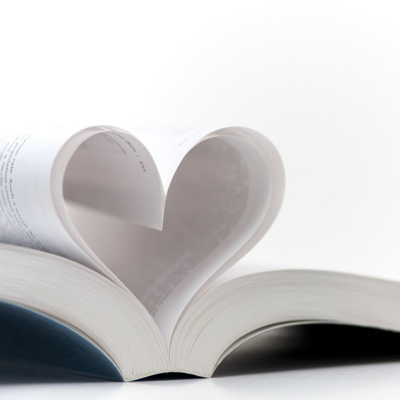 Pages of a book made into a heart shape. Symbolizes a love of books, reading and education, or romance.